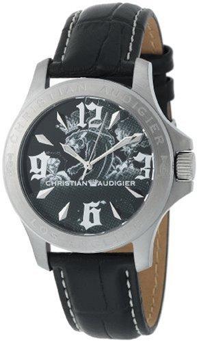 Christian Audigier ete 109 Armbanduhr Herren Lederband schwarz