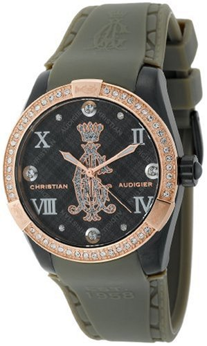 Christian Audigier int 313 Armbanduhr Damen Armband aus Gummi Farbe Grau