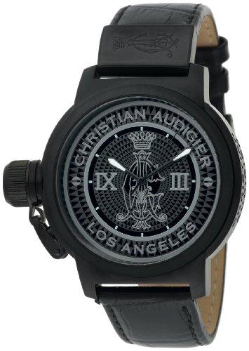 Christian Audigier Unisex Armbanduhr ROYAL BLACK Analog Leder schwarz ETE 115