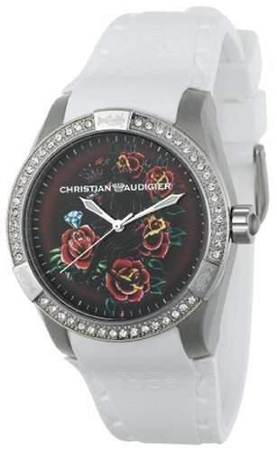 Christian Audigier INT-303 Diamond Panther Garden White Watch
