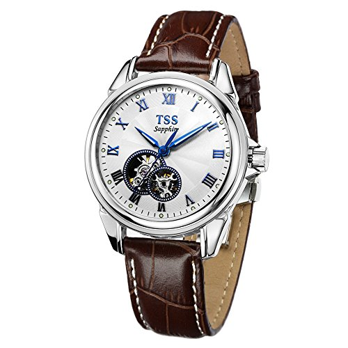 TSS Herren Weiss Zifferblatt blau Hand braun Leder Band automatische Bewegung Armbanduhr