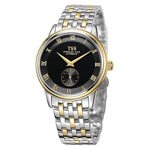 TSS Herren Schwarz Zifferblatt Golden Hand Edelstahl zweifarbig Band automatische Bewegung Armbanduhr