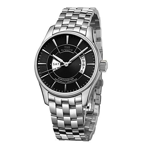 TSS Herren Schwarz Ziffernblatt Silber Hand silber Edelstahl Band Quarz Uhrwerk Armbanduhr
