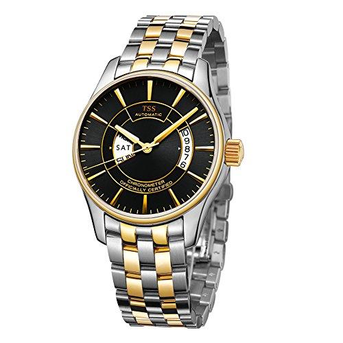 TSS Herren Schwarz Ziffernblatt Golden Hand Edelstahl zweifarbig Band Quarz Uhrwerk Armbanduhr