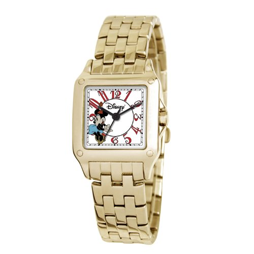 eWatchFactory Damen 51107 7 B 3 Disney Minnie Mouse Perfect Square Goldtone Armbanduhr