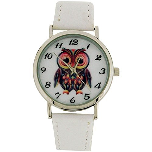 Time Collection anal Eulenbild Zifferblatt weisses PU Armband CB008B