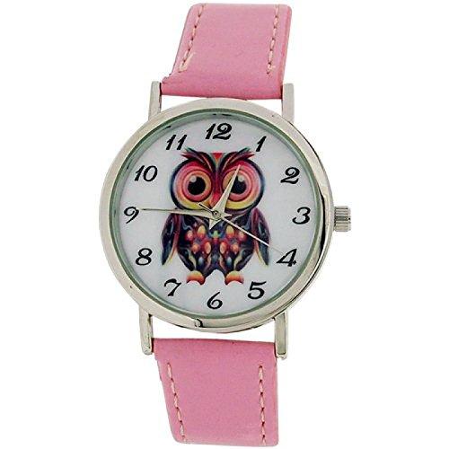 Time Collection anal Eulenbild Zifferblatt rosa PU Armband CB008D