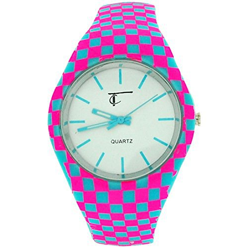 Time Collection weisse Quartzuhr rosa blau kariertes Kautschukarmband TC56B