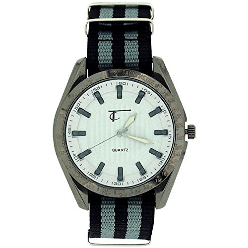 Time Collection Herren Quartzuhr w Zifferbl schwarz graues Stoffband TC41B
