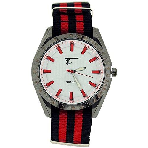 Time Collection Herren Quartzuhr w Zifferbl schwarz rotes Stoffband TC41B