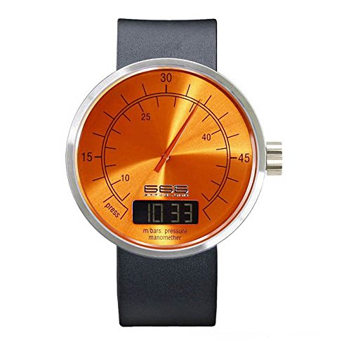 666Barcelona Under Pressure II Orange Digital Analog Leder Edelstahl