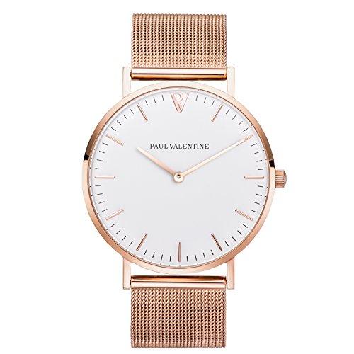 Paul Valentine Armbanduhr Marina Rose Gold Mesh Damen Uhr mit elegantem zeitlosen Design Hochwertige Verarbeitung und feinstes Edelstahl Armband