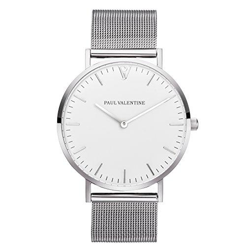 Paul Valentine Armbanduhr Marina Silber Mesh mit elegantem zeitlosen Design und feinstem Edelstahl Armband