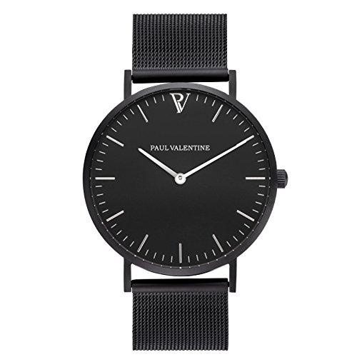 Paul Valentine Armbanduhr Feliz Black Mesh Damen Uhr mit elegantem zeitlosen Design und feinstem Edelstahl Armband