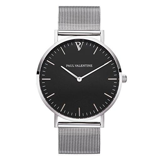 Paul Valentine Armbanduhr Pearl Silber Mesh Damen Uhr mit elegantem zeitlosen Design und feinstem Edelstahl Armband
