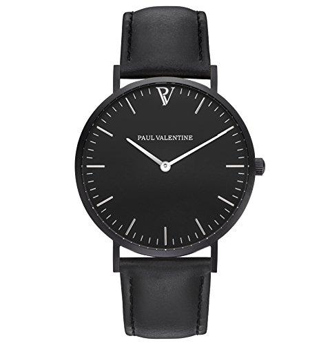 Paul Valentine Armbanduhr Feliz Blach Leather mit elegantem zeitlosen Design und italienischem Echtleder Armband