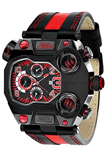 Zeitlos XXL Herren Quarzuhr Model Beastmodus ZL T1 SwRL schwarz rot farbig Lederarmband hochglanz IP beschichtet 10ATM