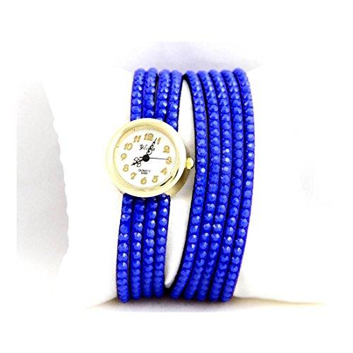 Leder blau Strass Yilisha 762