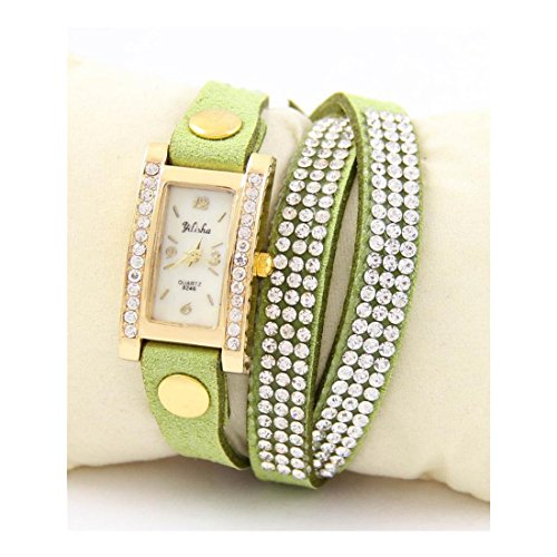 Damen Armbanduhr Leder gruen Diamanten CZ Yilisha 1631