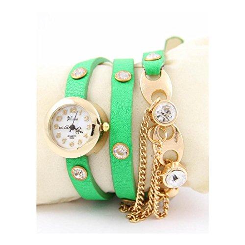 Damen Armbanduhr Leder gruen originelle Yilisha 502