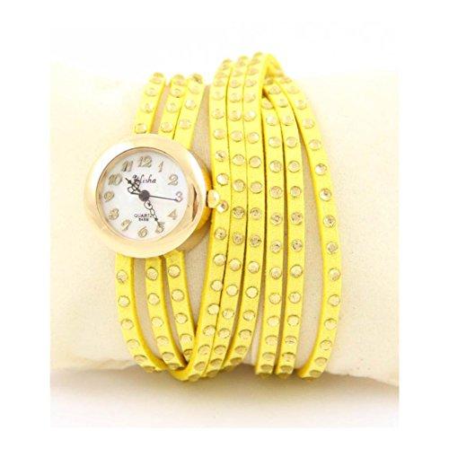 Damen Fantasie Armbanduhr Leder gelb Strass Yilisha 818
