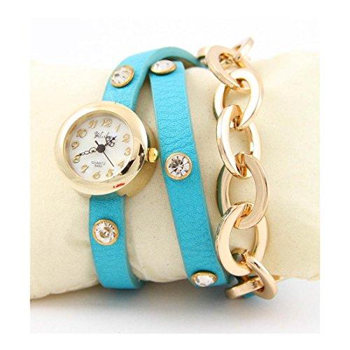 Damen Uhr mit Leder blau Himmel Ketten Yilisha 1698