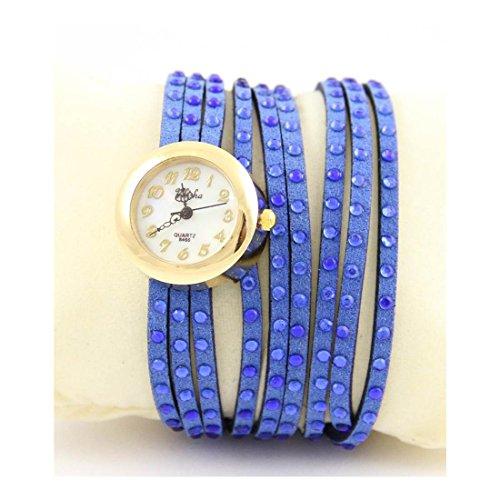 Zeigt Damen Armband Leder Blau Strass Yilisha 558