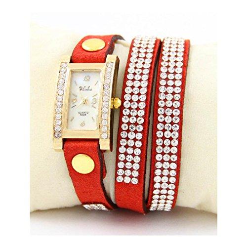 Zeigt Damen Leder rot Diamanten CZ Yilisha 1627