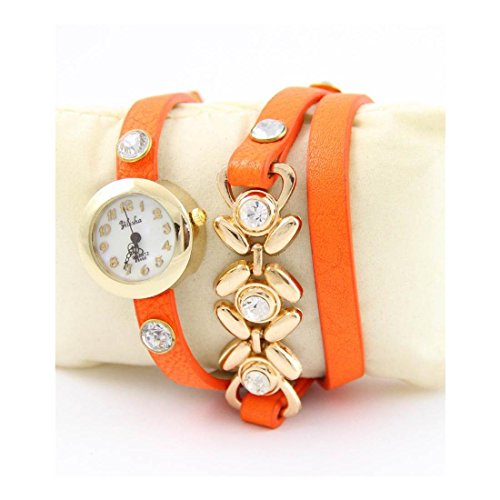 Zeigt Damen Triple Armband Leder orange Charm Yilisha 1334