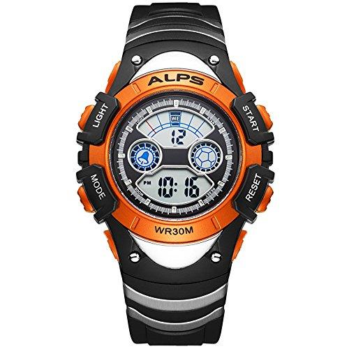 Kinde Uhren Jungen Maedchen Digitale Armbanduhr schlichtes Design Multifunktions Sport Armbanduhr 30 m wasserdicht Casual Fashion Armbanduhr Orange