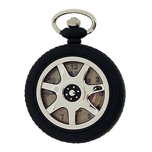 Vintage Race Team Herrentaschenuhr Reifenform mit 30 cm silber Kette HM1098