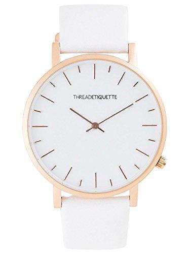 Thread Etiquette Minimalist Armbanduhr Matt Rosegoldfarben Weiss 265
