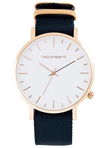 Thread Etiquette Minimalist Armbanduhr Rosegoldfarben Navy Canvas 231