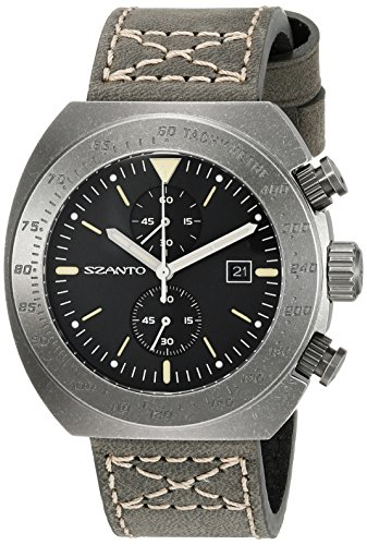 SZANTO Herren SZ 4104 4100 Serie Analog Display Japanisches Quartz Black Watch