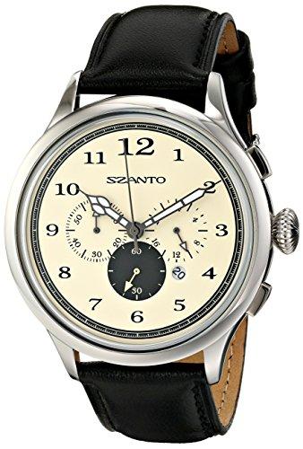 Szanto SZ2402 Unisex Schwarz Lederarmband Beige Dial Serie Chronograph Uhr