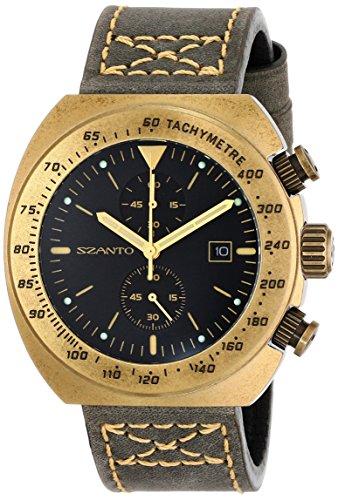 Szanto SZ4101 Herren Braun Lederband Schwarz Dial 4100 Serie Analog Watch