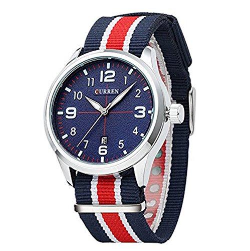 BINZI Stilvolle Nylon Uhr einfache beilaeufige Mann Armbanduhr Auto Date Sport Uhr