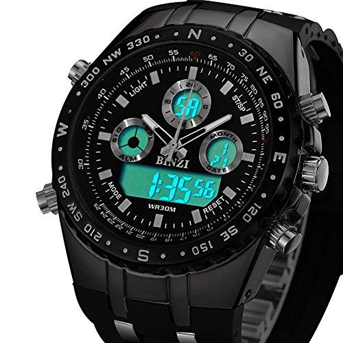 BINZI Militaer Herren Armbanduhr Wasserdichte Sport Uhren Digitaluhr Luxus LED Licht Dual Display mit schwarzem Silikonband