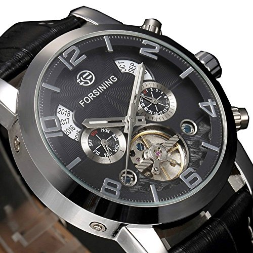 Yisuya Tourbillon automatische mechanische Lederuhr Fashion Mehrere Zeitzonen Selbstaufzug Analog Display Schwarz