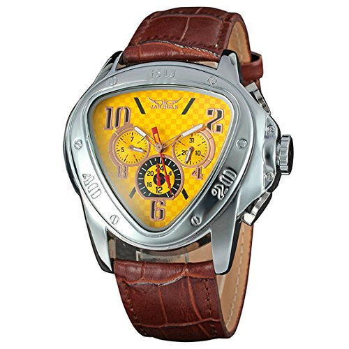 yisuya Automatische self wind Mechanische Woche Tag 20Hr Dreieck Zifferblatt Gelb Braun Leder Band Armbanduhr