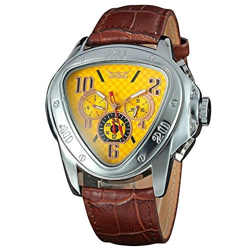 yisuya Automatische Mechanische Armee Triangle Kalender 24 Stunden Zifferblatt Leder Sport Armbanduhr Braun und Gelb