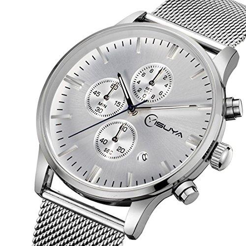 yisuya Uhren Chronograph Herren quartz watch Edelstahl Mesh Band Silber Multifunktions Sports Casual megir Armbanduhren