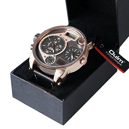 yisuya Oulm 9316b Marken Designer Armbanduhr Militaerstil 5 5 cm Japanisches Uhrwerk Armbanduhr fuer Stunden in Rotgold Uhr mit Geschenk Box