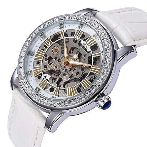 yisuya Frauen Strass Skelett Uhren Edelstahl Steampunk Automatische self wind Mechanische Armbanduhr mit Weiss Leder fuer Damen mit Top Qualitaet Geschenk Box