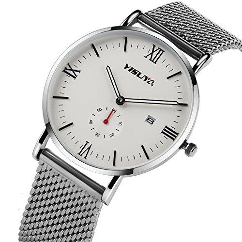 yisuya einfach quartz watch Edelstahl Mesh Band Silber Uhren Datum Analog Display Sport Weihnachts geschenke