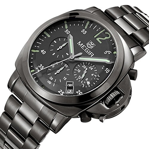yisuya megir Herren Luxus Armbanduhr Sportlicher Stil Chronograph echtleder Herren