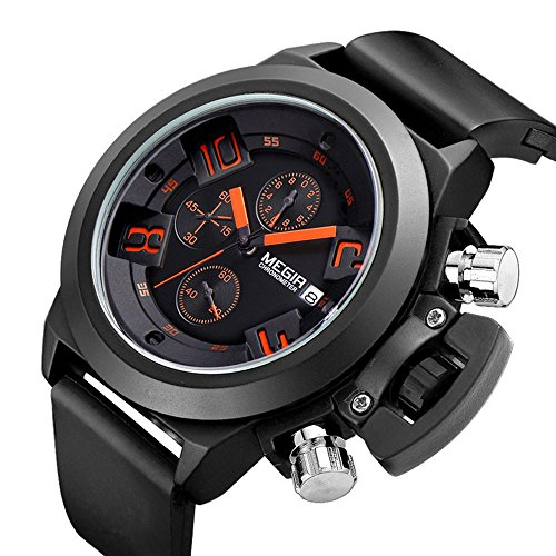 yisuya Herren s Sport Stop Uhren MILITARY Chronograph Datum Display Creative Schutzhuelle schwarz Silikon Armband megir Geschenk Box