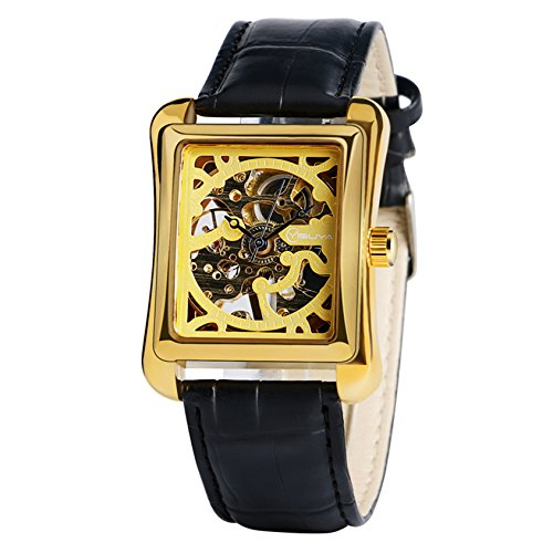 yisuya Herren Gold Rechteck Form mechanische Business Armbanduhr Steampunk Skelett Uhren mit Schwarz Echt Leder Armband