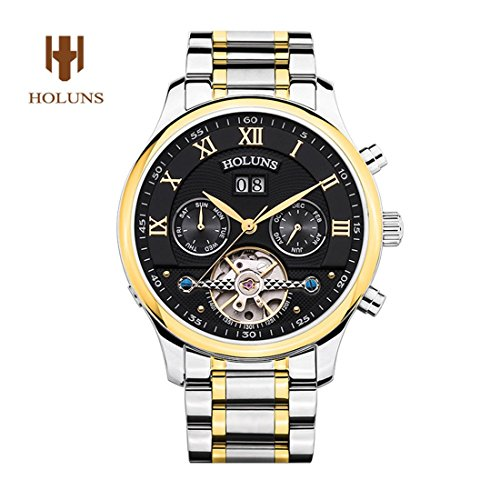 yisuya Luxus Geneva holuns Tourbillon Armbanduhr Herren Saphir Silber Edelstahl Wasserdicht Seek Automatische Mechanische Uhr