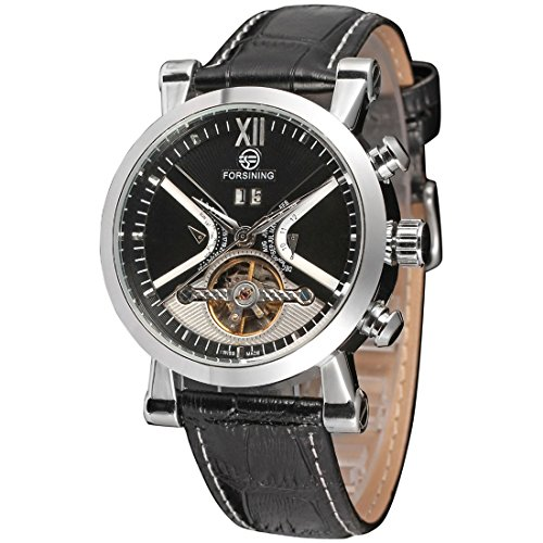 yisuya Herren Tourbillon automatische self wind Mechanische Skelett Armbanduhr Stecker schwarz Lederband mit Datumsanzeige forsining Armbanduhr Geschenk